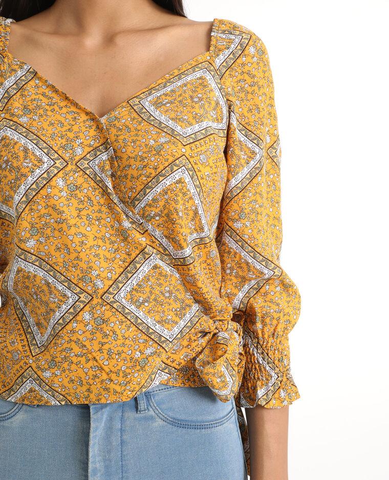 Camicia stampata giallo