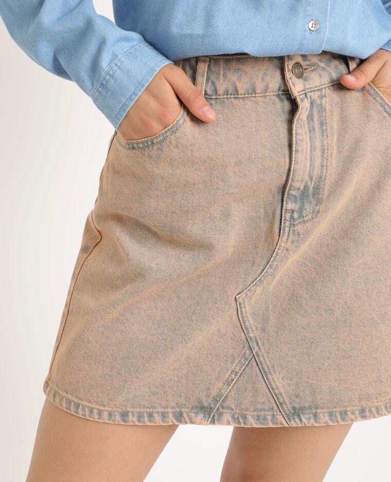 Gonna in jeans délavé caramello