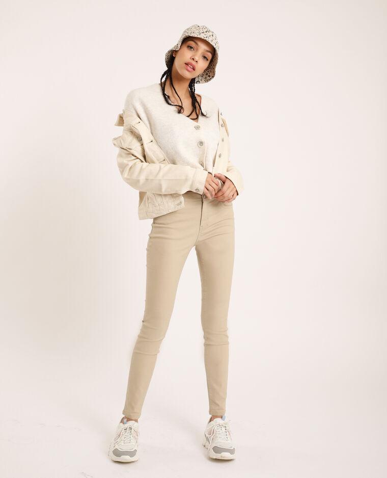 Pantalone skinny push up mid waist beige