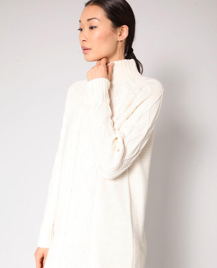 Abito pull in maglia ritorta bianco sporco