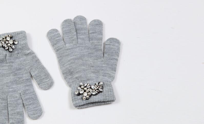 Guanti con gioielli grigio