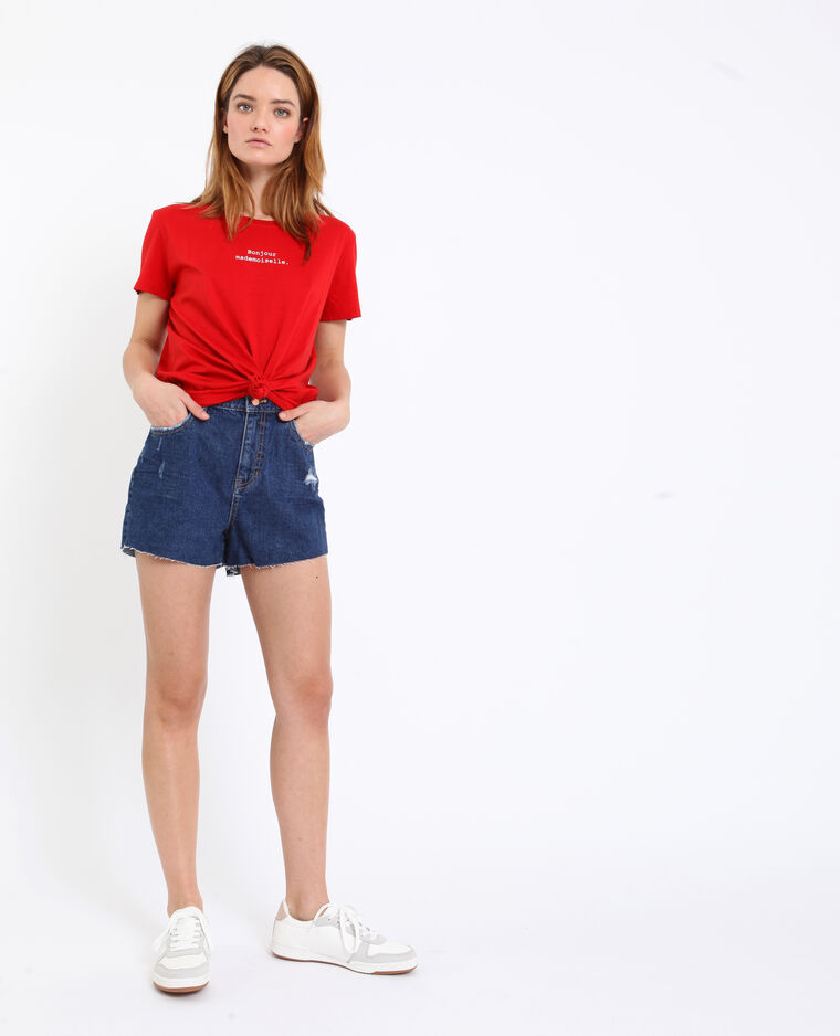 Short in jeans high waist blu grezzo