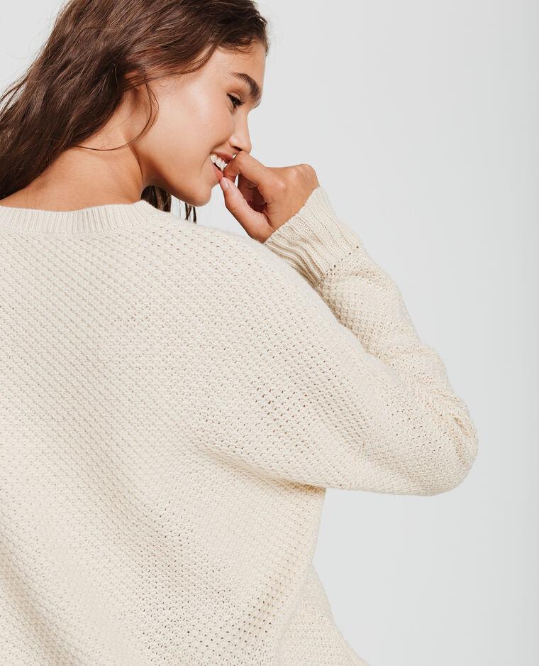 Pull in maglia fantasia beige corda