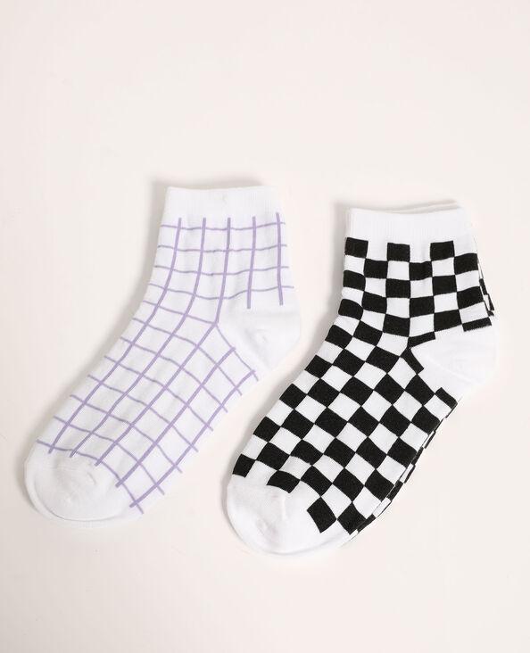 Lotto di 2 paia di calzini a quadri viola - Pimkie