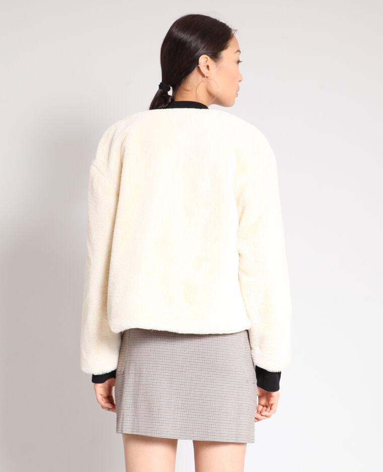Cappotto corto in pelliccia ecologica bianco sporco