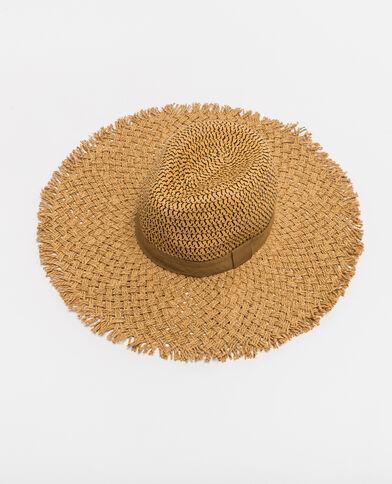 Cappello a tesa larga in paglia beige corda