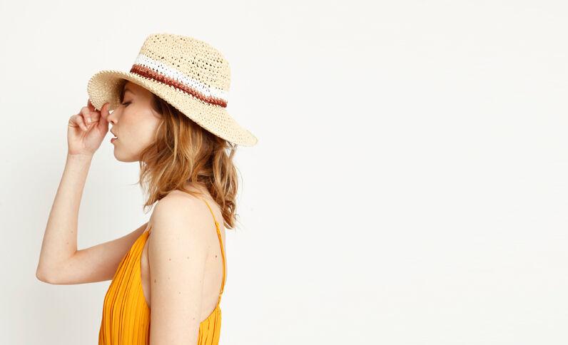 Cappello in paglia colorato beige