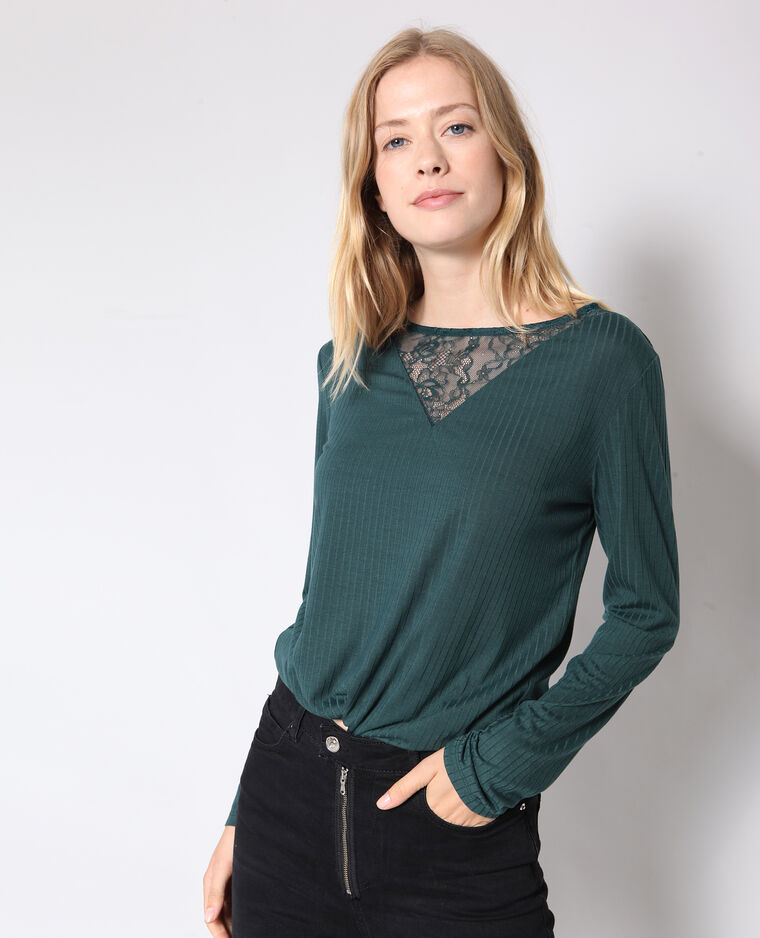 T-shirt ricamo verde