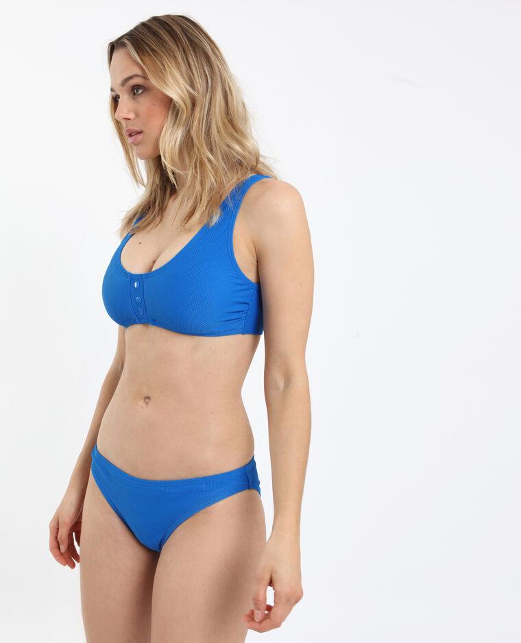 Pezzo sotto di bikini goffrato blu