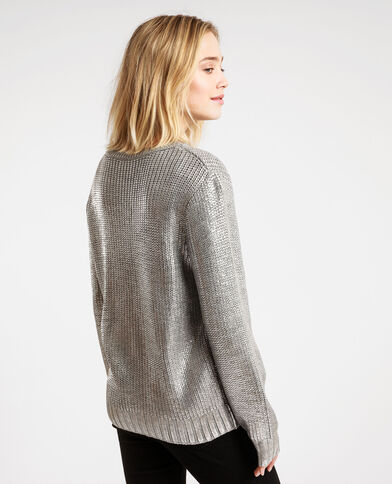 Pull brillante grigio