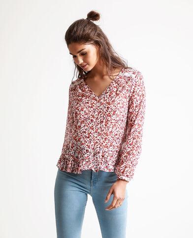 Camicia corta a fiori bianco