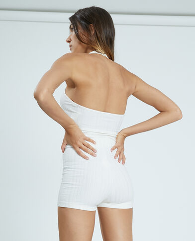 Pantaloncini corti in stile ciclista in maglia a coste bianco - Pimkie