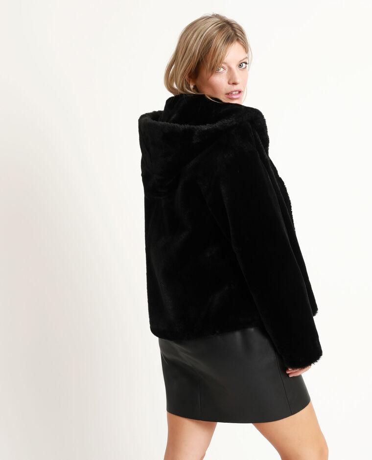 Cappotto corto in pelliccia ecologica nero