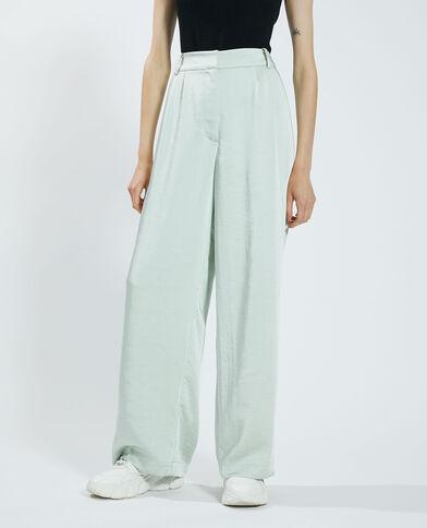 Pantalone wide leg satinato verde - Pimkie