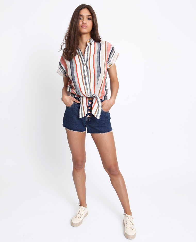 Short in jeans mid waist blu grezzo