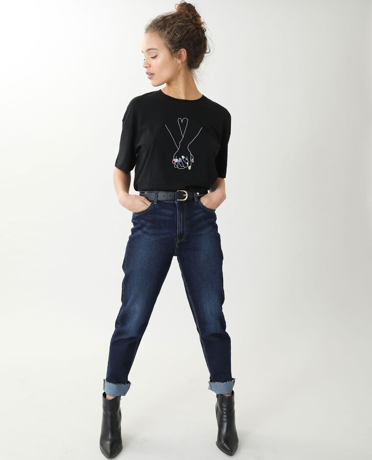 T-shirt oversize a maniche corte nero - Pimkie
