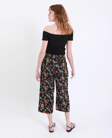 Pantalone morbido stampa floreale nero