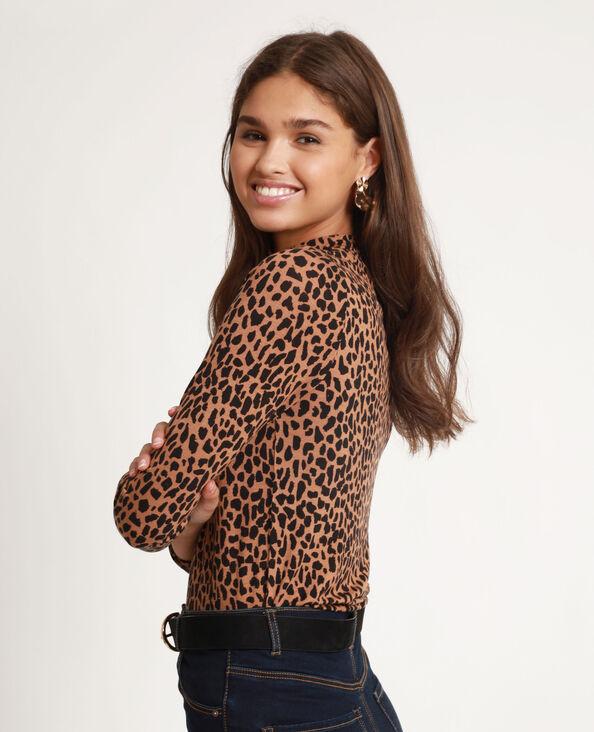 T-shirt leopardata marrone
