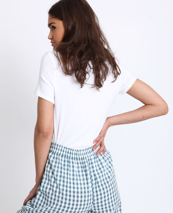 T-shirt collo a V bianco