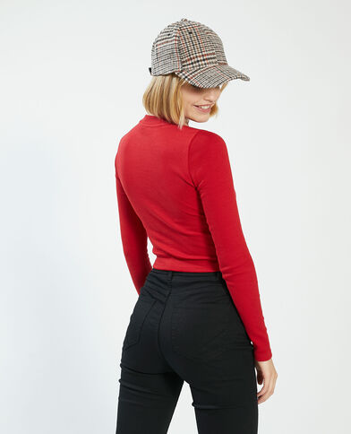 T-shirt cropped a coste rosso - Pimkie