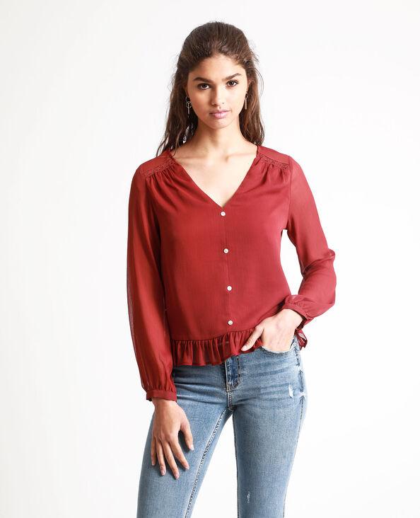 Camicia corta rosso scuro