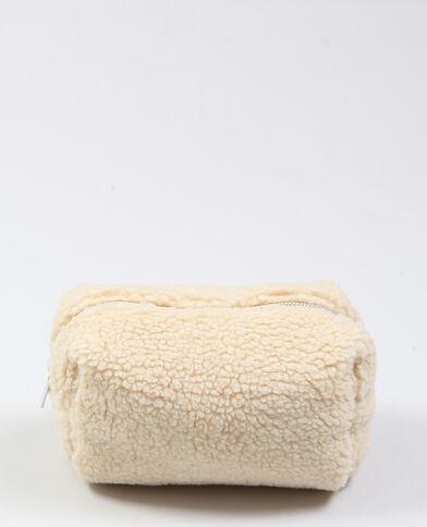 Trousse in pelliccia ecologica écru
