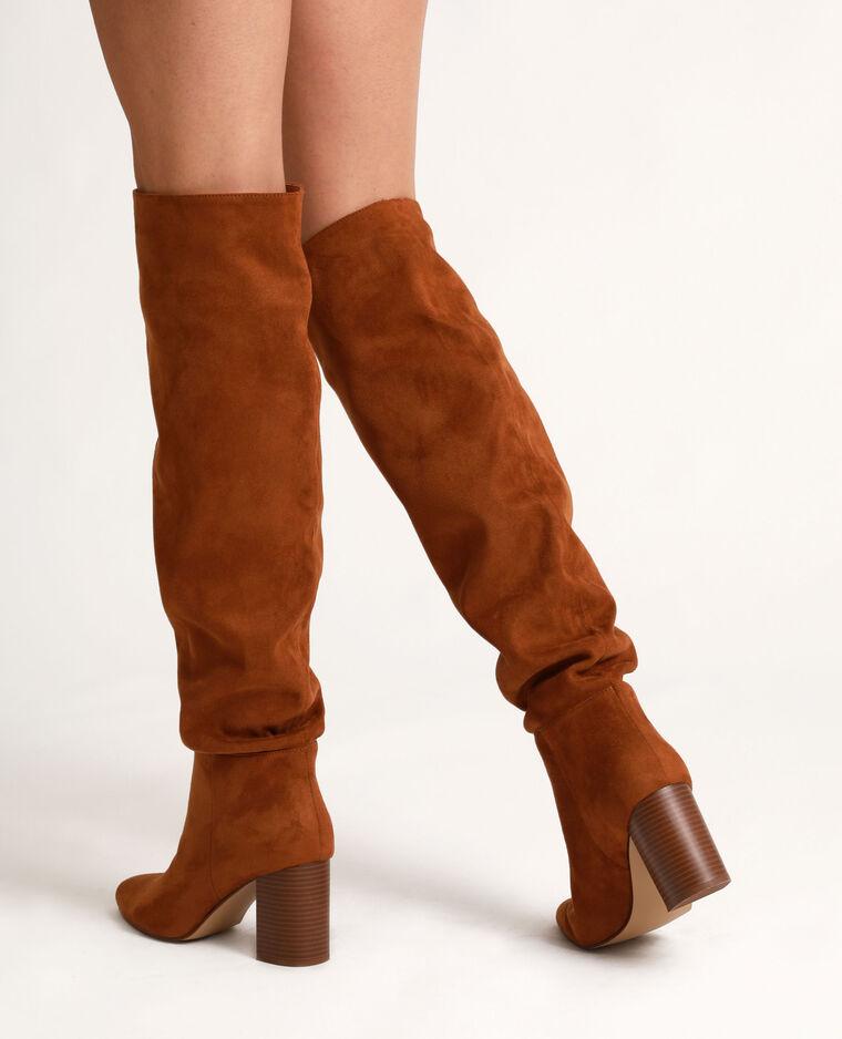Stivali a mezza coscia con tacchi alti marrone