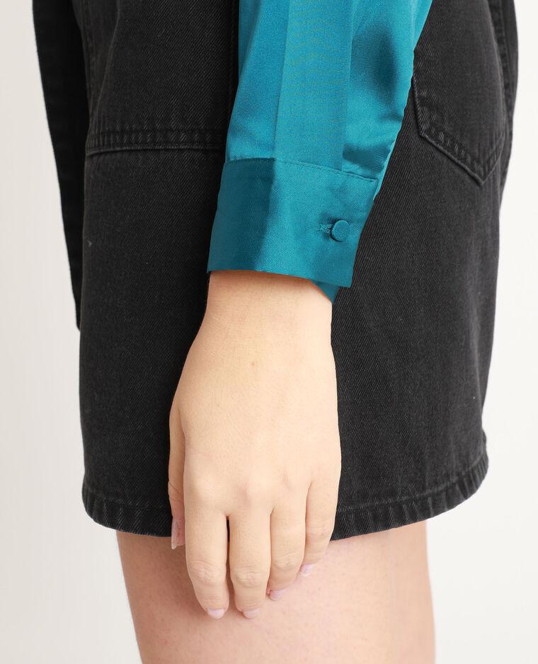 Camicia satinata blu petrolio