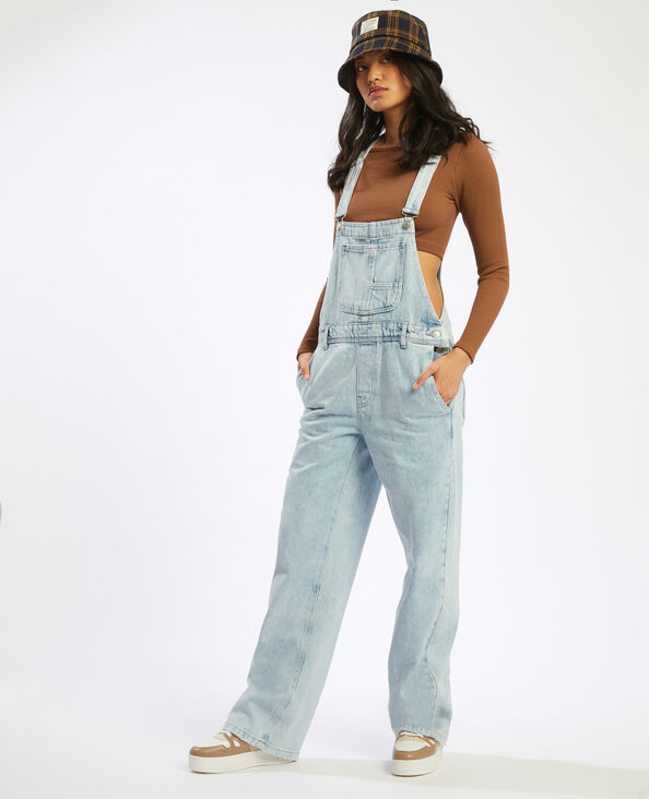 Salopette di jeans bleached blu denim - Pimkie