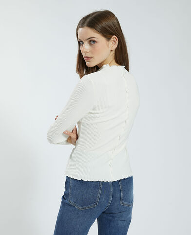 T-shirt a coste e ondulata bianco - Pimkie