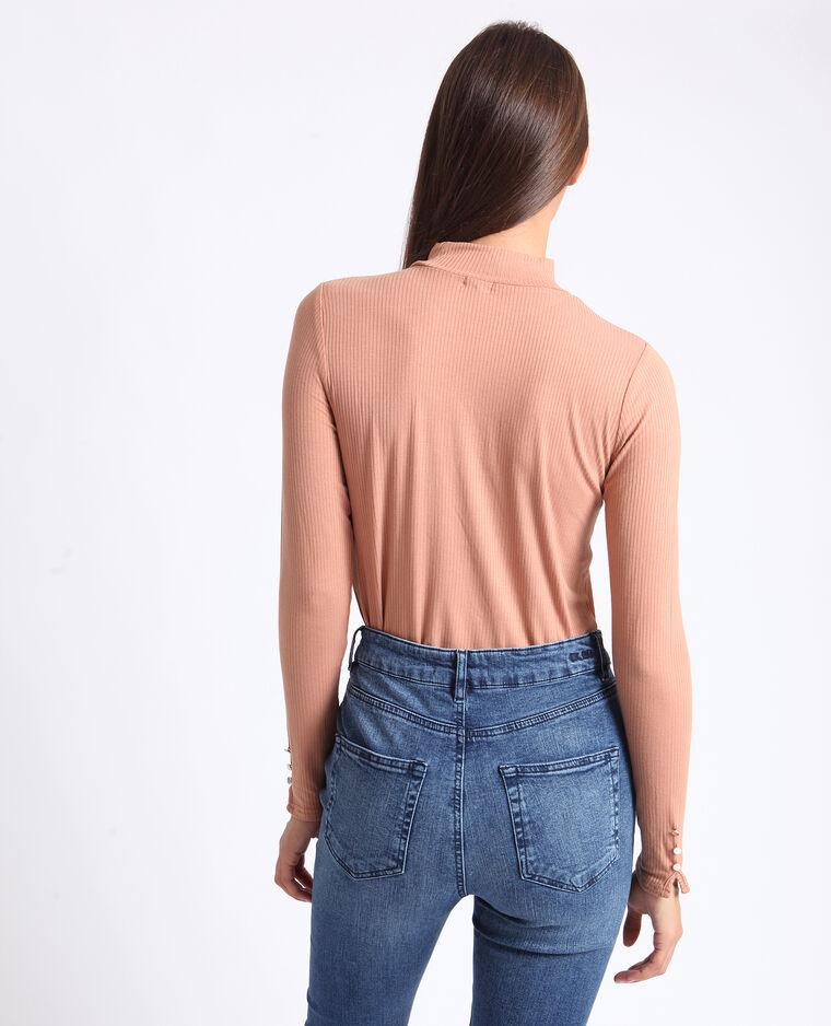 T-shirt con collo alto bruno