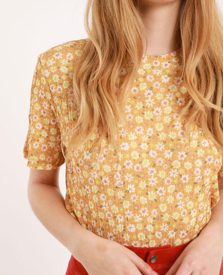 T-shirt a collo alto giallo