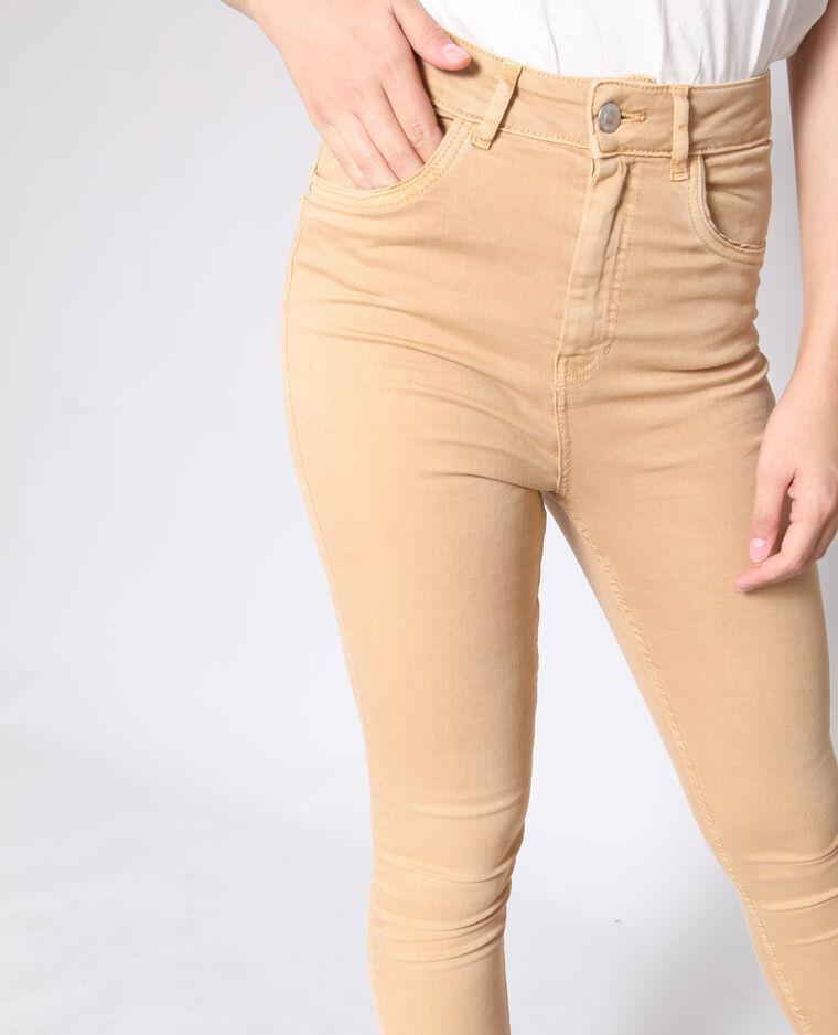 Pantalone skinny a vita alta beige sabbia
