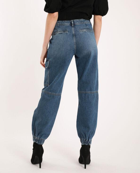 Jeans combat mid waist blu denim