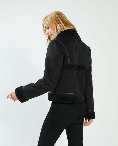 Cappotto corto in similpelle e pelliccia ecologica nero - Pimkie