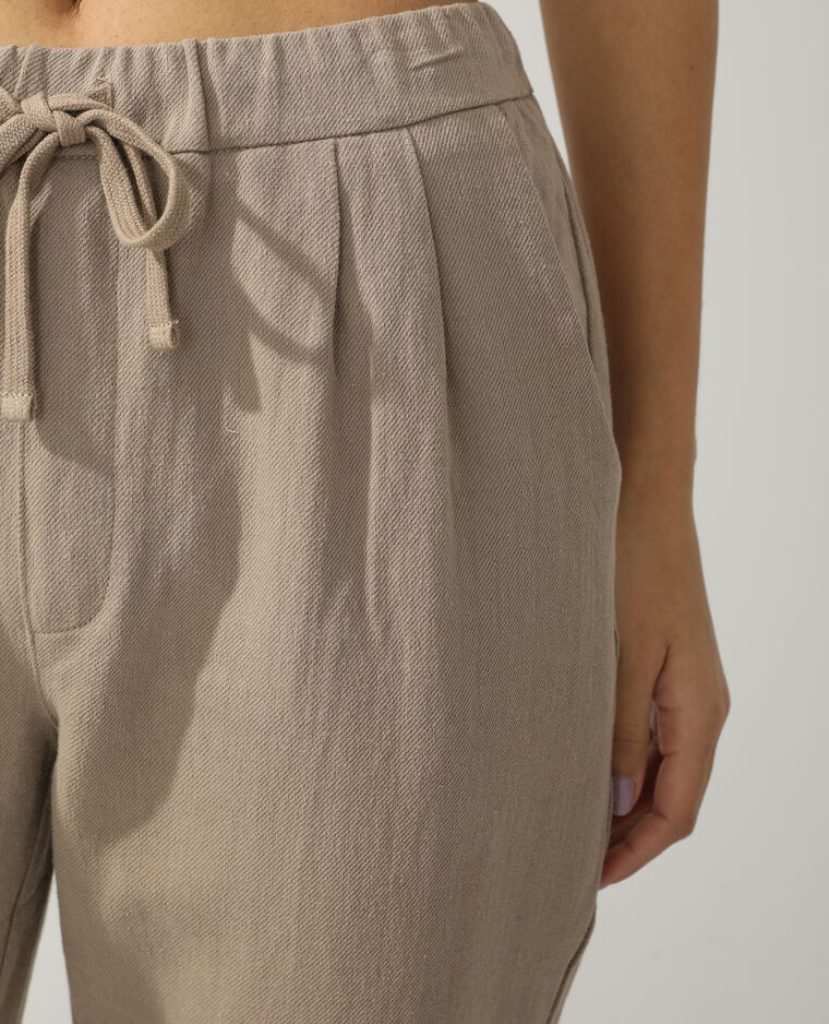 Pantalone da jogging con lino marrone - Pimkie