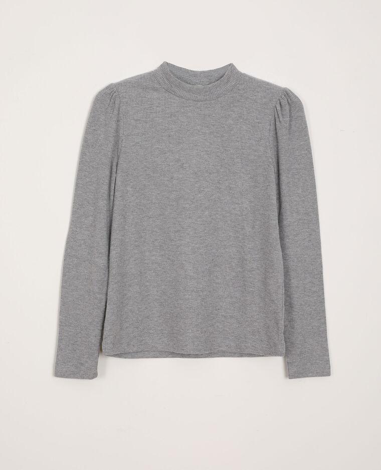 T-shirt con maniche a sbuffo grigio chiné