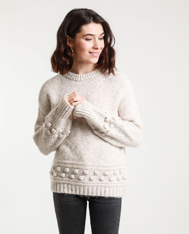 Pull in maglia spessa beige