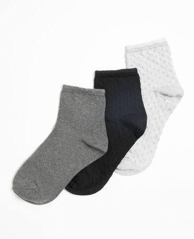 Lotto da 3 paia di calze basse grigio chiaro chiné