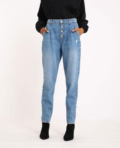 Jeans mom con bottoni blu delavato