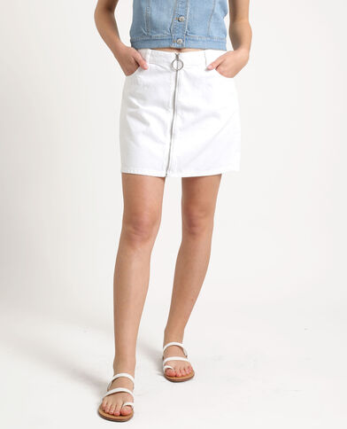 Gonna in jeans con zip bianco