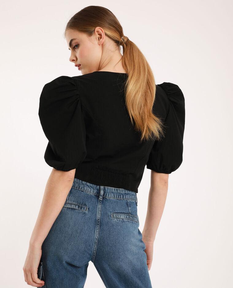 Camicia con maniche a palloncino nero