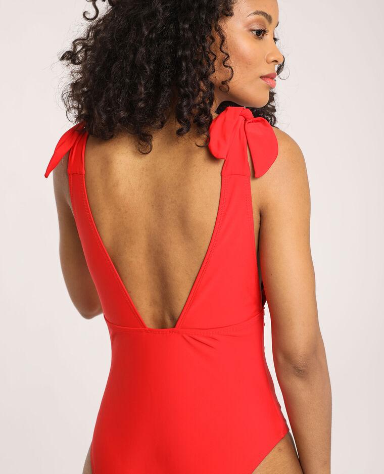 Costume intero con scollatura rosso - Pimkie