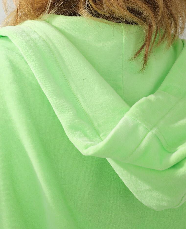 Felpa con cappuccio in velluto verde - Pimkie
