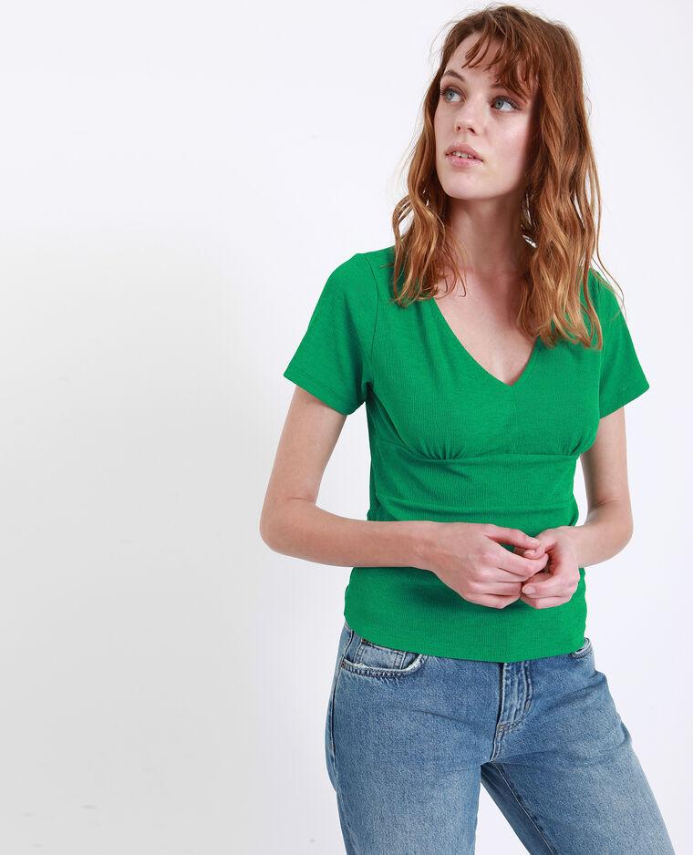 Top con collo a V verde