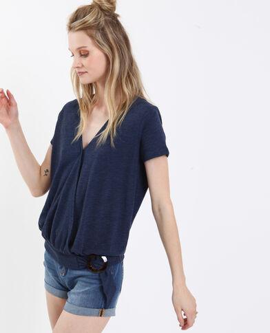 T-shirt con texture e con collo a V blu scuro