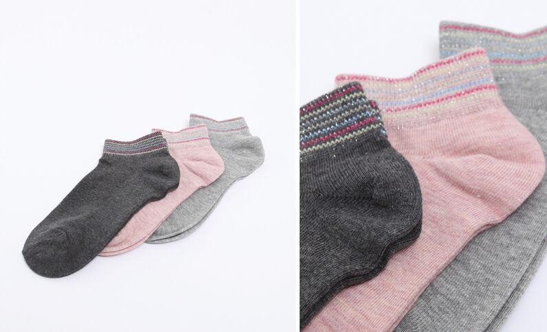 Lotto da 3 paia di calze invisibili grigio perla