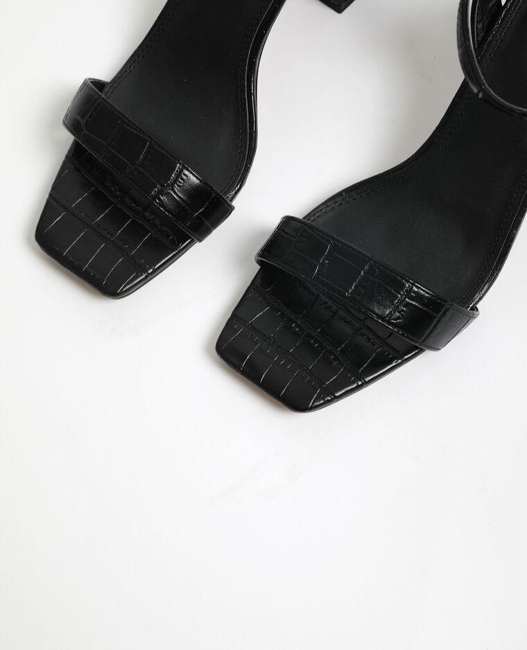 Sandali effetto coccodrillo nero