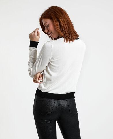 Cardigan bicolore bianco