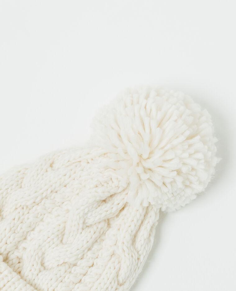 Berretto con pompon bianco sporco